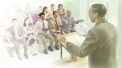 Sebuah perjumpaan di Dewan Perjumpaan Saksi-Saksi Yehuwa