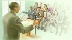 جلسهای در سالن جماعت شاهدان یَهُوَه