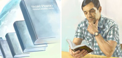 The Bible in many languages; a man reads the Bible in his language