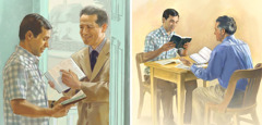 One of Jehovah's Witnesses reads a scripture to a man, then studies the Bible with him