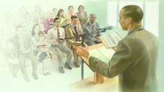 A meeting at a Kingdom Hall of Jehovah's Witnesses