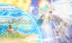يهوه يتطلع من عرشه الى مخلوقاته، في السماء وعلى الارض