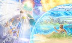 From his heavenly throne, Jehovah looks upon his heavenly and earthly creations