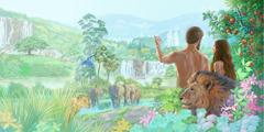 آدم وحواء يتأملان في الجنة التي يعيشان فيها