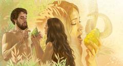حواء تأكل من الثمرة المحرمة وتعطي آدم ليأكل