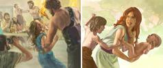 امرأة تحمل طفلها وهناك صبي يضربها؛ النفيليم، ابناء الملائكة الاشرار، يتصرفون بعنف