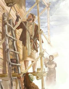 نوح تے اوہناں دا خاندان کشتی بنا رہے نیں۔