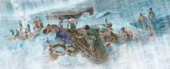 کشتی تیر رہی اے، بھیڑے لوک ڈُب رہے نیں تے بُرے فرشتے دُبارہ اسمان تے جا رہے نیں۔
