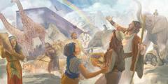 نوح، اوہناں دا خاندان تے جانور کشتی چوں نکل آئے نیں تے اِک دھنک اسمان چ نظر آرہی اے۔