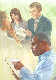 یہوواہ دے گواہ اِک آدمی نُوں بائبل چوں پیغام سنا رہے نیں، اِک آدمی بائبل پڑھ رہیا اے۔