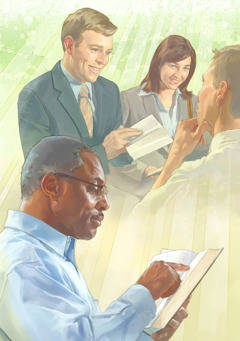 Jehovah's Witnesses use the Bible to preach to a man; a man reads the Bible