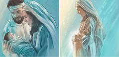 مريم وهي حبلى، وبعد ان ولدت يسوع
