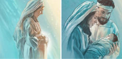 Mary while pregnant and after Jesus is born