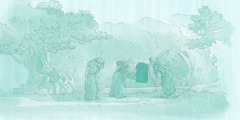 نساء ينظرن الى قبر يسوع الفارغ