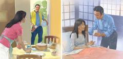 زوج يعتني بزوجته المريضة؛ زوجة تحضِّر وجبة طعام لزوجها