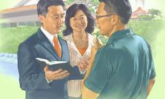 یہوواہ کے گواہ ایک آدمی کو بائبل کا پیغام سنا رہے ہیں۔