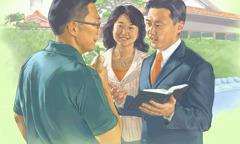 Två Jehovas vittnen predikar för en man