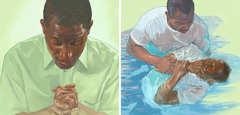 A man makes his dedication to Jehovah in prayer and later is baptized
