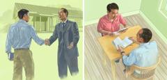 1人の男性が王国会館での集会に出席し,エホバの証人の1人と聖書を学んでいる。