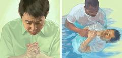 1人の男性が祈りでエホバに献身した後,バプテスマを受けている