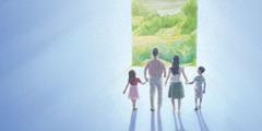 一個家庭進入樂園