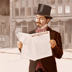 A man reading the first issue of The Watchtower