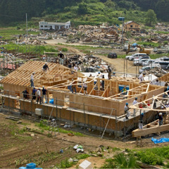 Relief workers rebuilding a Kingdom Hall in Japan