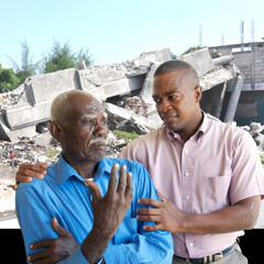 Jehovan todistaja lohduttaa katastrofin uhria Haitissa.