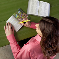 One of Jehovah's Witnesses studying a Bible-based publication