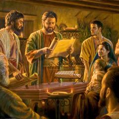 Birinci yüzyıldaki İsa'nın takipçileri yönetim kurulundan gelen mektubu okuyor