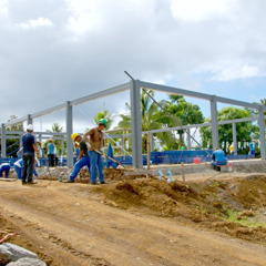 A Kingdom Hall construction site in Tahiti