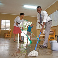 Jehovah's Witnesses cleaning their Kingdom Hall in Zimbabwe