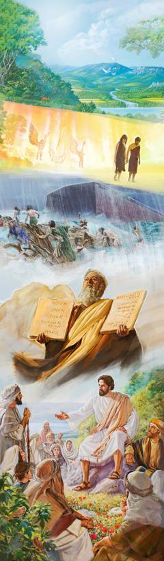 Σκηνές του αρχικού Παραδείσου, ο Παράδεισος χάνεται, ο Κατακλυσμός του Νώε, ο Μωυσής με τις 10 Εντολές και ο Ιησούς διδάσκει.