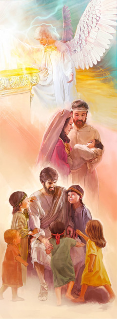 1. Jesus in heaven; 2. Baby Jesus with Mary and Joseph; 3. Jesus teaching children
