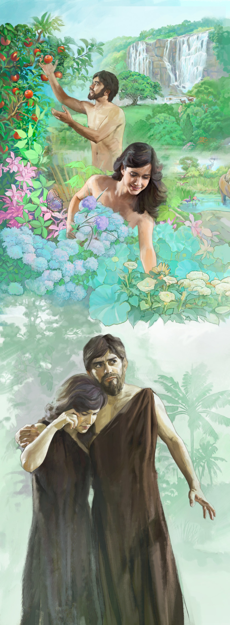 Adam And Eve In The Garden Of Eden And Later Being Put Out Of The Garden