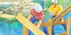 Personas construyendo casas en el paraíso en la Tierra restaurada