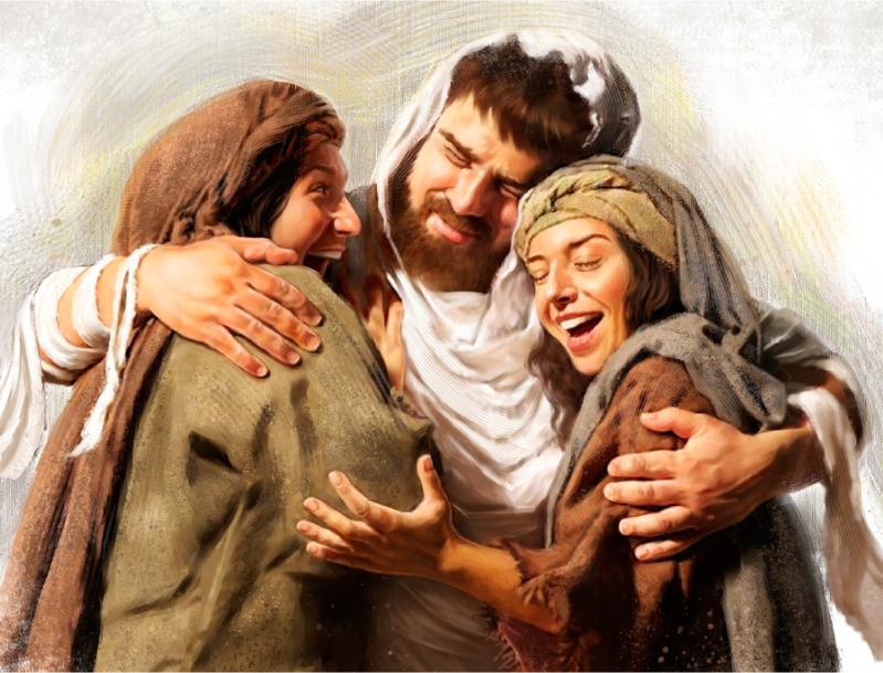 Lázaro con sus hermanas, Marta y María, tras ser resucitado