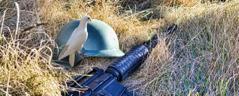 En due, en militær hjelm og et krigsvåpen