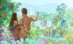 Adam and Eve in the Paradise in Eden