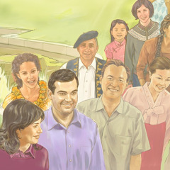 Eri etnisiin ryhmiin ja rotuihin kuuluvia onnellisia ihmisiä