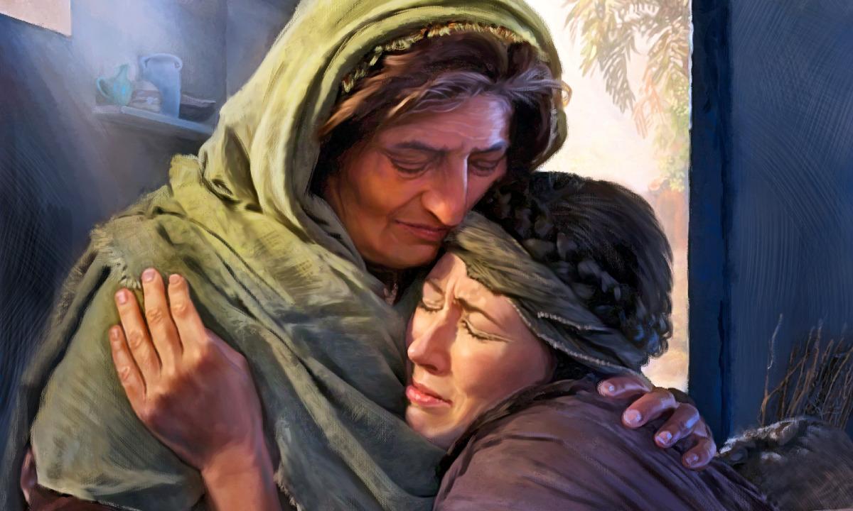Rute e Noemi se abraçam ao dividir seu pesar pela morte de seus maridos