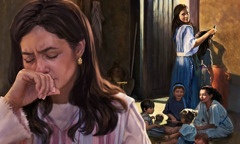 Горда Пеніна в оточенні своїх дітей самовдоволено дивиться на Анну, яка плаче