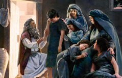 Samuel comforts grieving women and children