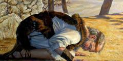 Elias orando de joelhos com o corpo curvado em direção ao chão