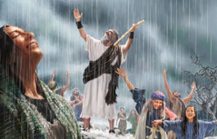 The prophet Elijah and other Israelites rejoicing in a downpour of rain