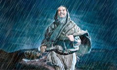 Elijah runs in the rain and gets ahead of King Ahab