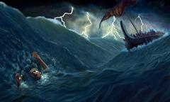 Golven slaan over Jona heen nadat hij in zee is gegooid