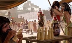 იონა ბოროტ ნინეველებთან ქალაქში ტაძრის წინ დგას