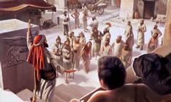 Folk i Ninive lytter til Jona, som forkynner