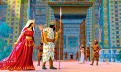 Esther enters King Ahasuerus' court dressed in her royal finery